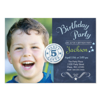 "Birthday Party Invitation Boy Chalkboard Photo 5"" X 7"" Invitation Card"