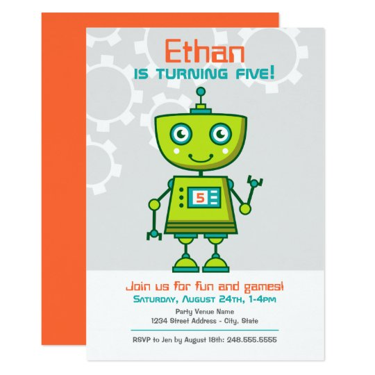 birthday party invitation boy s robot theme zazzle com