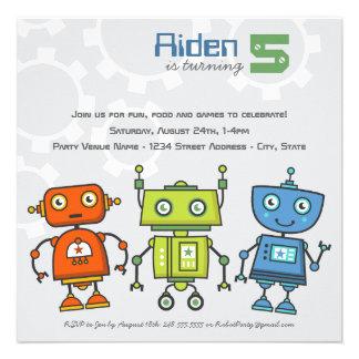 Birthday Party Invitation | Boy's Robot Theme