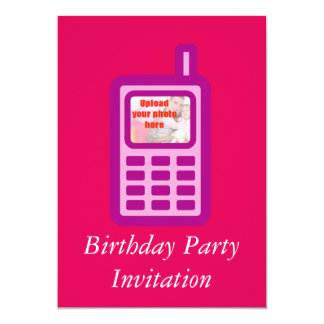 Birthday party invitation cell phone add photo