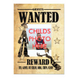 "Birthday Party Invitation Childs Wanted Photo Card 5"" X 7"" Invitation Card"
