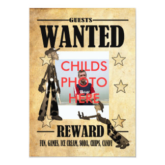 Birthday Party Invitation Childs Wanted Photo Card