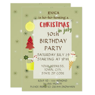 Birthday Party Invitation Christmas In July at Zazzle