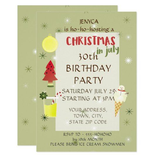 Christmas Birthday Party Invitations.Birthday Party Invitation Christmas In July