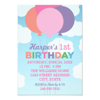 Birthday Party Invitation | Colorful Balloons