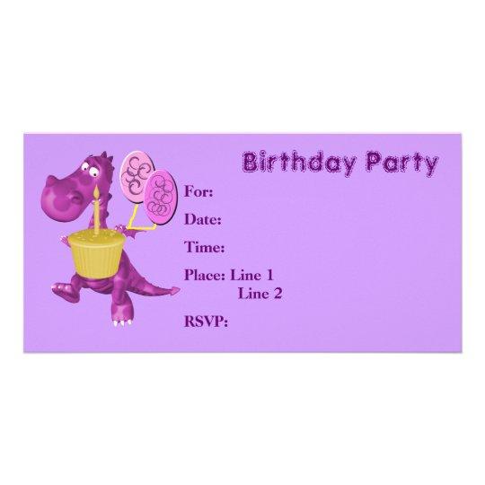 Birthday Party Invitation Cute Dragon Cupcake
