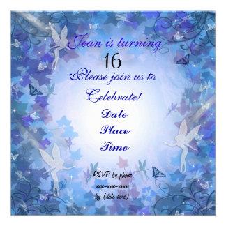 Birthday Party Invitation Fairy blue