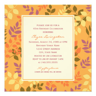 Birthday Party Invitation Fall Leaves Border