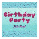 """Birthday Party Invitation - For Children #2 5.25"""" Square Invitation Card"""