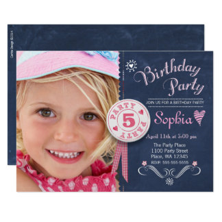 Birthday Party Invitation Girl Chalkboard Photo
