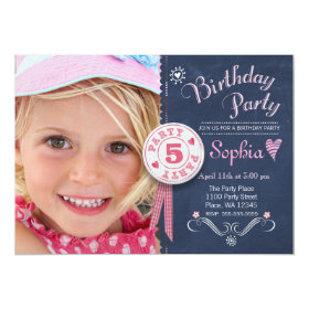 Birthday Party Invitation Girl Chalkboard Photo 5