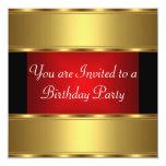 Birthday Party Invitation Gold Black Red Invitations
