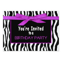 Birthday Party Invitation, Insert Age, Zebra Print Invitation