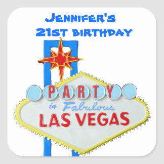 Birthday Party Invitation Las Vegas SIgn Stickers