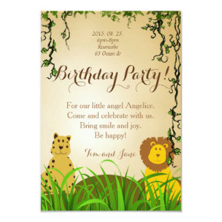 Birthday Party Invitation lion cheetah