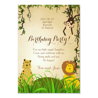 Birthday Party Invitation lion cheetah m onkey
