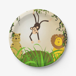 Birthday Party Invitation lion cheetah monkey Paper Plate