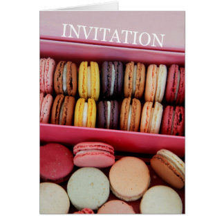 Birthday party invitation macaron