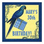 "Birthday Party Invitation Macaw Parrot 5.25"" Square Invitation Card"