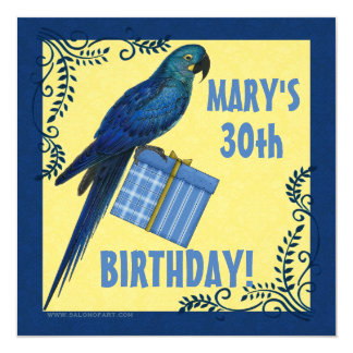 "Birthday Party Invitation Macaw Parrot 5.25"" Square Invitation Card"