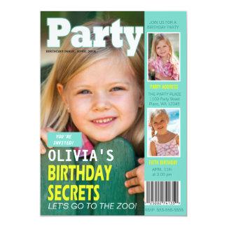 "Birthday Party Invitation Magazine Cover 3 Photos 5"" X 7"" Invitation Card"