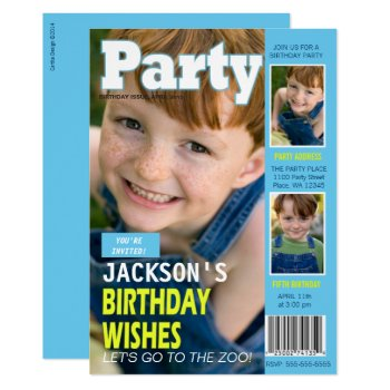 Birthday Party Invitation Magazine Cover 3 Photos by CartitaDesign at Zazzle