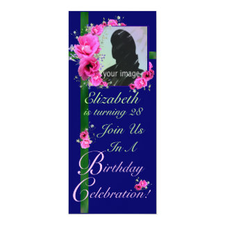 Birthday Party Invitation Photo Card Pink Flowers