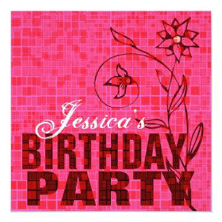 "Birthday Party Invitation Pink Flower 5.25"" Square Invitation Card"
