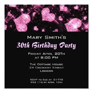 Birthday Party Invitation Pink Glitter Hearts