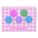 Birthday Party Invitation Pink Greeting Card