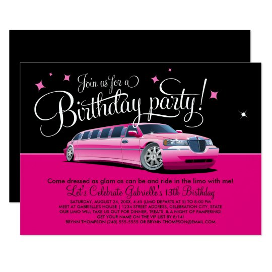 Birthday Party Invitation | Pink Limousine | Zazzle