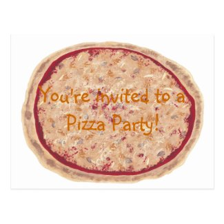 Birthday Party invitation, pizza postcards