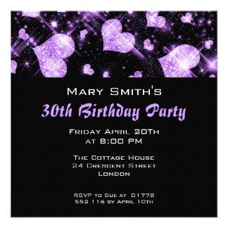 Birthday Party Invitation Purple Glitter Hearts