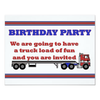 Birthday party invitation red cabover big rig