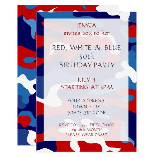 birthday party invitation red white blue camo zazzle com