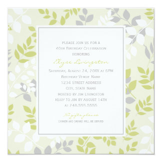 "Birthday Party Invitation | Spring Leaves Border 5.25"" Square Invitation Card"