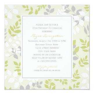 Birthday Party Invitation | Spring Leaves Border