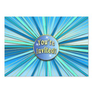 BIRTHDAY PARTY INVITATION - SUNBURST BLUE/GOLD RAY PERSONALIZED INVITATION