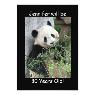 Birthday Party Invitation, Two-Sided, Panda Black Card