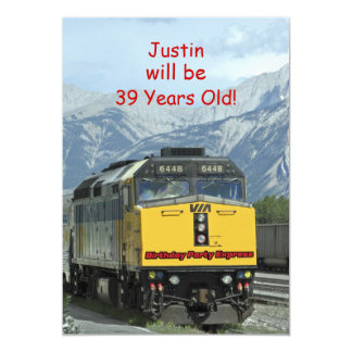 Birthday Party Invitation, Two-Sided, Yellow Train