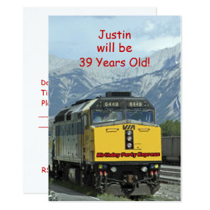 Birthday Party Invitation Two Sided Yellow Train