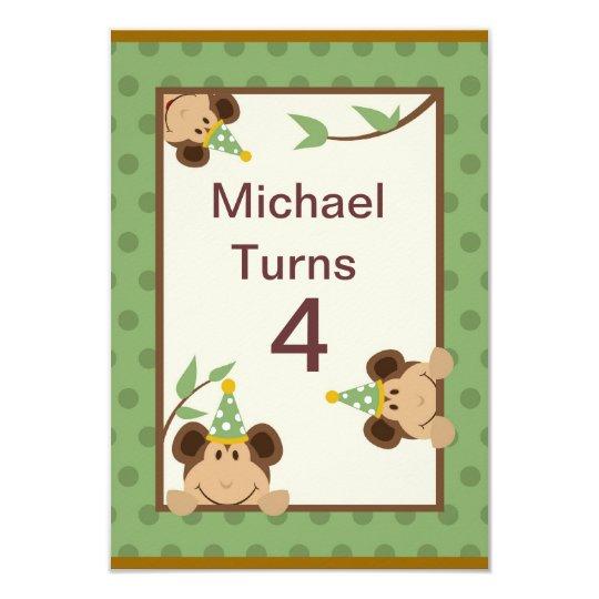 Birthday Party Invitation w/ Monkeys