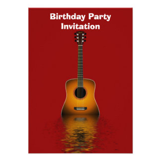 Birthday party invitation with acoustic guitar