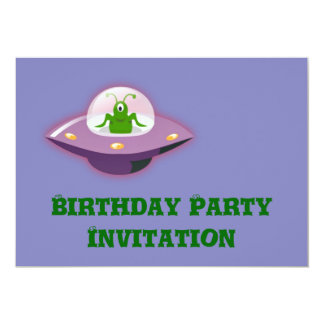 """Birthday party invitation with alien in spaceship 5"""" x 7"""" invitation card"""