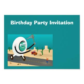 "Birthday party invitation with alien spaceship 5"" x 7"" invitation card"