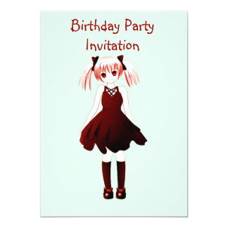 Birthday party invitation with anime girl