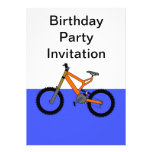Birthday party invitation with bicycle bike