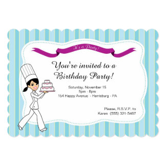 Birthday Party Invitation with Cake