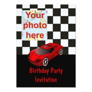 Birthday party invitation with car add photo