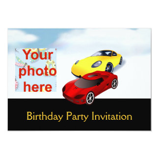 Birthday party invitation with cars add photo